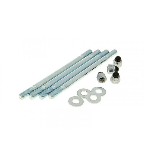 cylinder bolt set incl. nuts M7x115mm - 4 pcs each for Minarelli AM, Generic, KSR-Moto, Keeway, Motobi, Ride, CPI, 1E40MA, 1E40MB 24206
