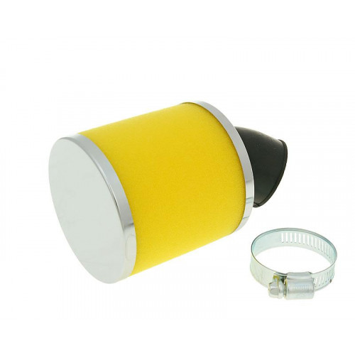 air filter Big Foam 28-35mm bent carb connection (adapter) yellow VC23323